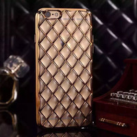 mobile phone cover electroplate TPU for iphone 6 Lambskin Diamond Pattern