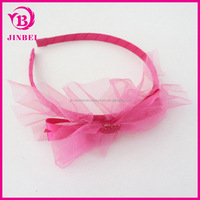 Yiwu Yilibei Newest Design Plastic Headband With Red Fabric Beauty Bow For Kids