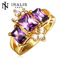 Lekani Yellow Gold Purple Three Stone Ring