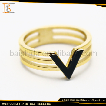 steel ring 18k italian gold jewelry chinese supplier anniversary engagement gift party wedding