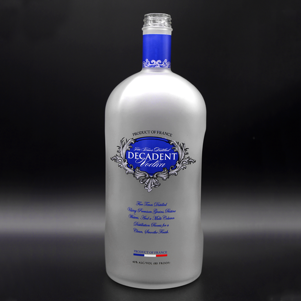 Frosted glass bottle for liquor blue logo custom