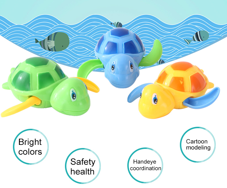Newborn Cartoon Animal Tortoise Baby Bath Infant Swim Turtle Chain Clockwork Toy