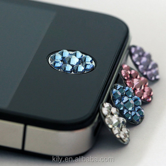 Home Button Crystal Sticker For Cell Phone Adornment Charm Case