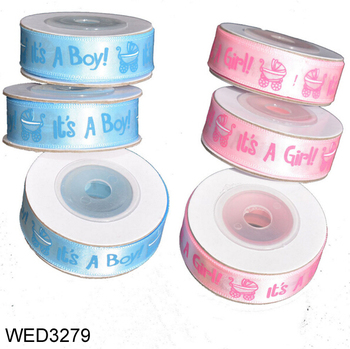 FengRise 10Yards/roll BOY/GIRL Ribbon Grosgrain Belt Beautiful Baby Shower Gift Ribbon Decoration