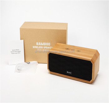 high quality bamboo wireless speakers with touch sensitive