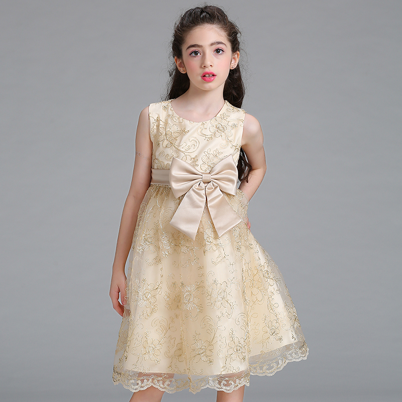 High Quality Exquisite Lace Flower Girl Dresses Embroidery kids dresses for girls european style L9027