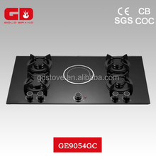 Wonderful 8mm black tempered glass gas stove with glass top hotplate/ energy-saving 5 burner gas electric cooker