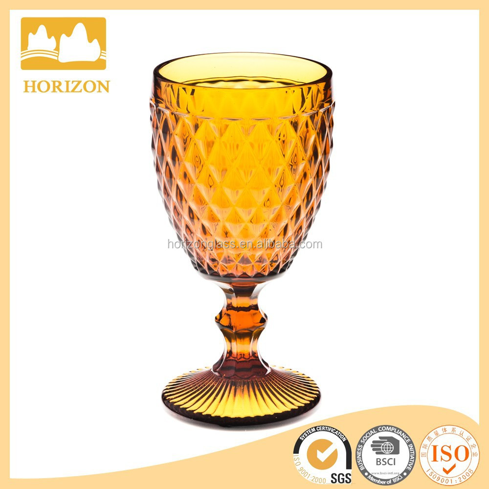 In stock Diamond grain amber colored stemed embossed red wine glass wholesale