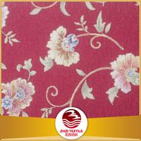 100% Polyester red background floral pattern upholstery chenille jacquard fabric