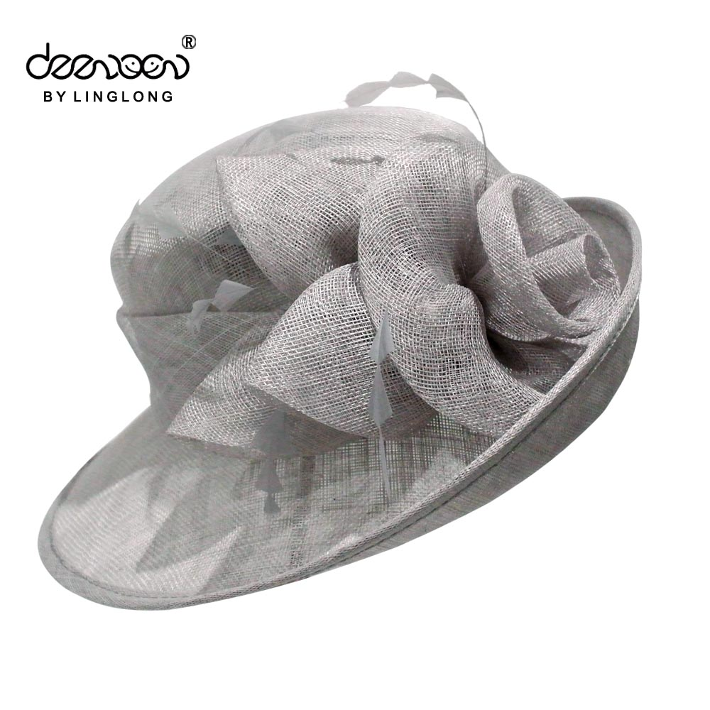 China Fashion Wide Brim Gray Sinamay Church Hat Wholesale