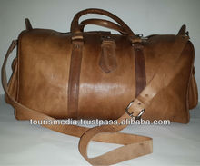 Oiled tan Handmade moroccan leather Travel bags made in Marrakech