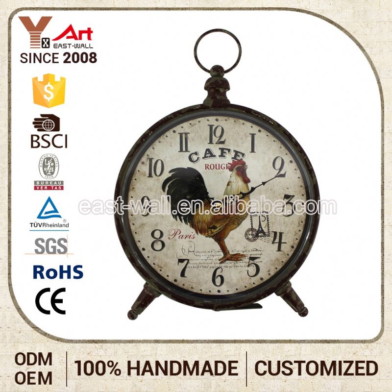 Nice Quality Home Decoration Antique Iron Cute Garden Table Outdoor Clock