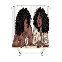 African American Lovers Couple Bathroom Decorations Shower Curtain