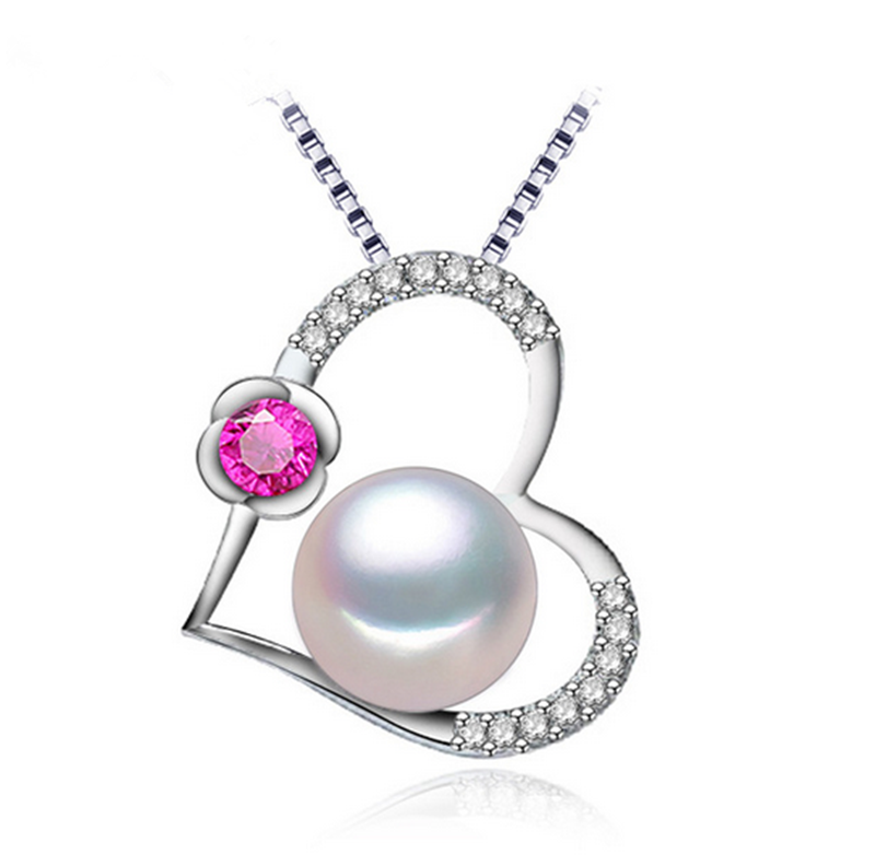 925 sterling silver love heart shape real natural freshwater pendants pearl