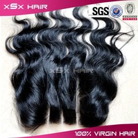 body wave unprocessed human hair 3 way part closure , virgin brazilian hair 3 part silk base lace closure