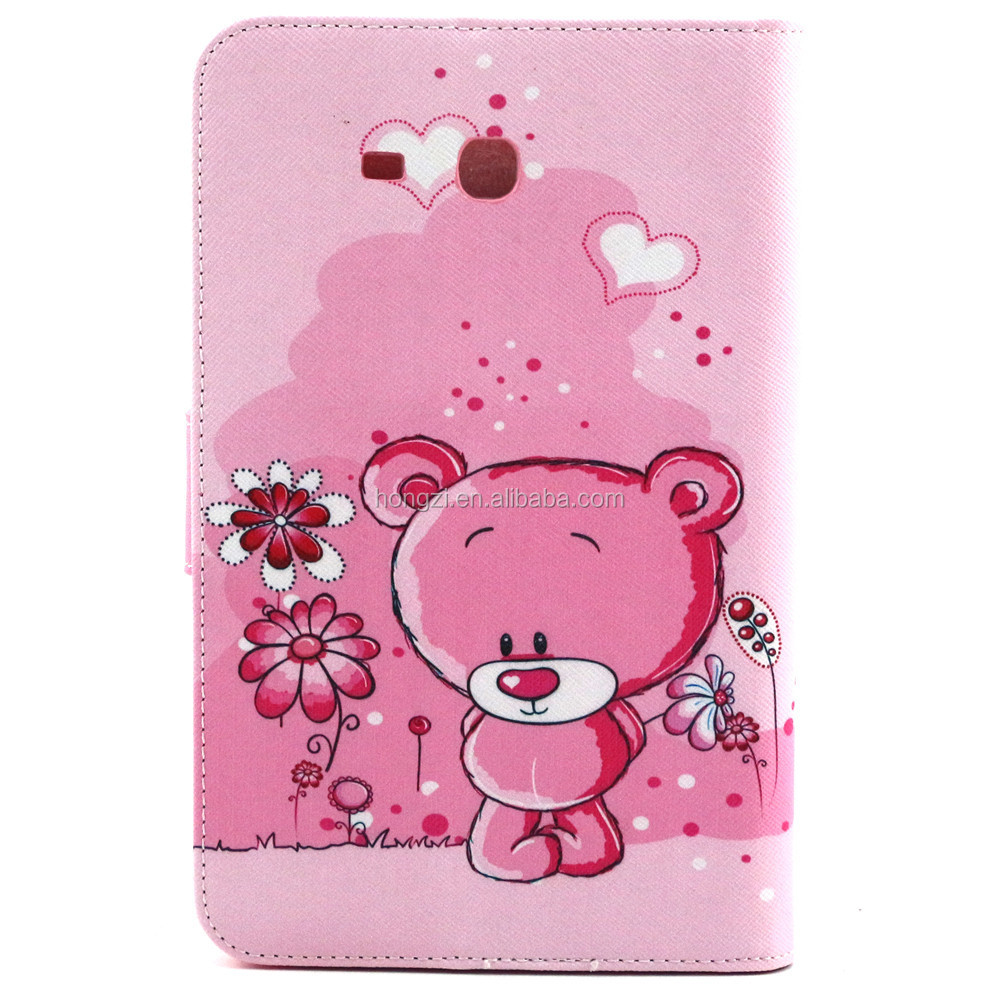For GALAXY Tab 3 Lite T110 Easily bear Pattern Flip Smart Stand Leather Case For Samsung Luxury Folding Cover Case Pouch