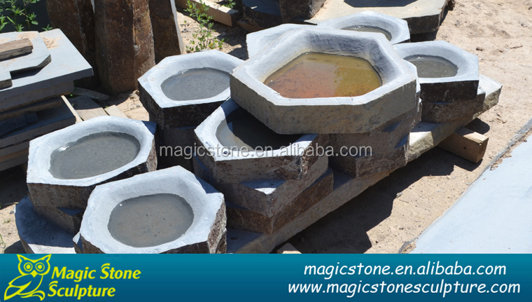 Natural Stone carved granite birdbath