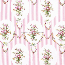cotton fabric printed floral pink Striped flowers textile fabric HYC0005