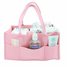 Wholesale multi pocket nursery portable organizer Storage basket bag felt baby diaper caddy
