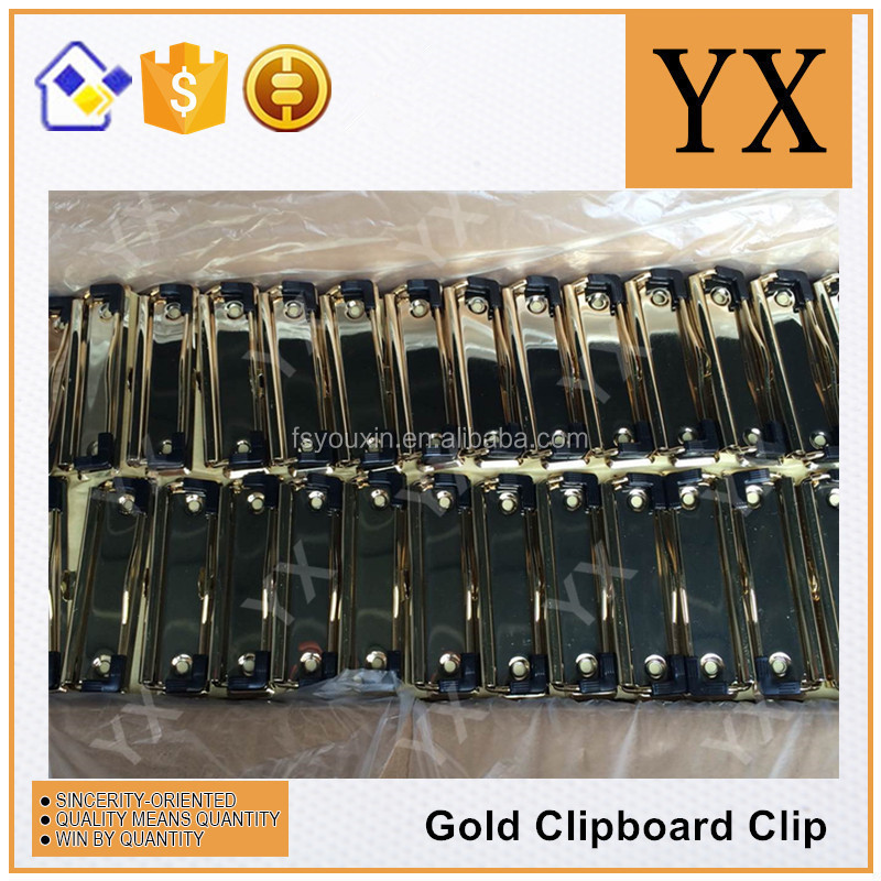 Luxury gold metal clipboard clip 100mm with rubber corner in US market