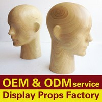 High quality wood head mannequin, male mannequin heads for hat display