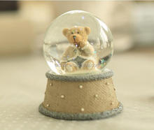 unique funny teddy bear with clothes personalized polyresin snow globe