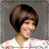 Dainty short hairstyle dark brown wig with blonde highlights