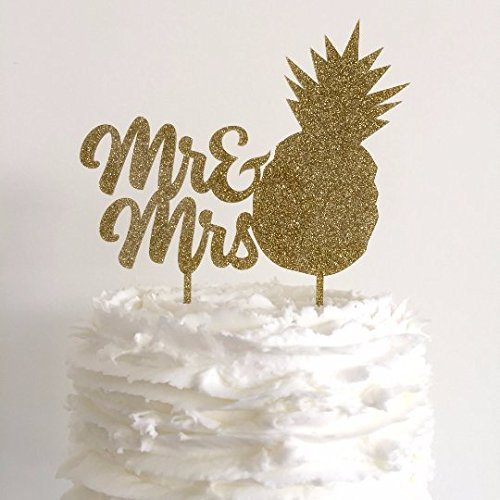 Elegant Mr And Mrs Pineapple Shaped Gold Glitter Acrylic Wedding Cake Topper