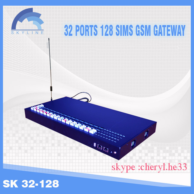 New Arrival! 32 ports with 128 sims GSM voip gateway ,free registration