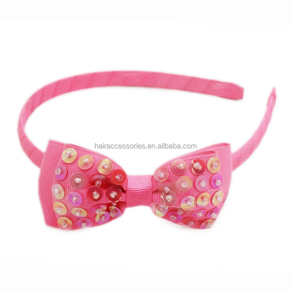Ribbon plastic hair band with bead sequin bow tie
