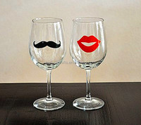Lead free Mustache Lips Glass Etched Wine Glasses/goblet/steamware/glassware