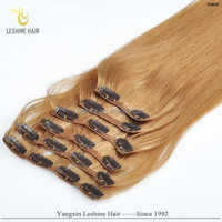 New Design Good Feedback Direct Factory Top Quality No Shedding No Tangle indian remy double drawn hair silicone clip