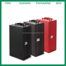 Luxury red/black leather 2 Bottles Leather Wine Carrier