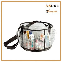 make up artist round carry all set makeup brush organizer holder clear makeup tool bag With External Pockets And Shoulder Strap