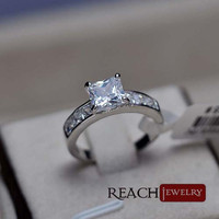 Yiwu prong setting ring wholesale zircon ring platinum plated