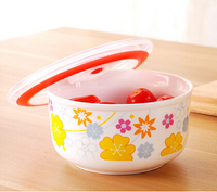 Round decal Ceramic Fresh Bowl with lids, Ceramic Storage canister, seal bowl lunch box