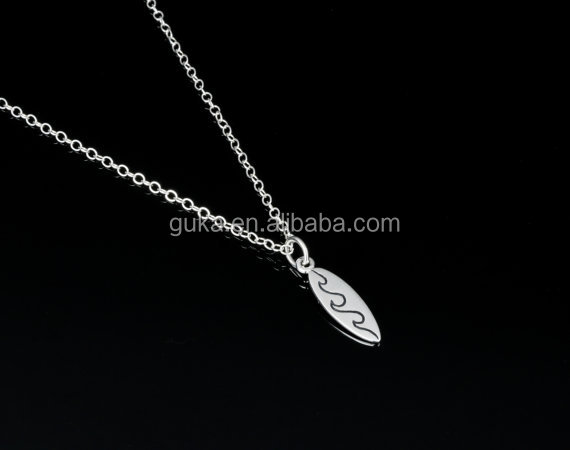 Newest Ocean Jewelry Wave Rider Necklace silver alloy surfboard necklace for men