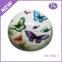 HX-7401 Custom Blue Butterfly Round Magnifying Clear Glass Paperweights Wholesale