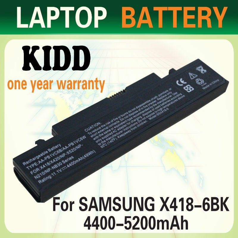 Laptop battery replacement for SAMSUNG X418/X420/N210/N210-Malo/N210-Malo series