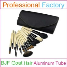 14pcs bamboo handle makeup brush set with goat hair black pouch