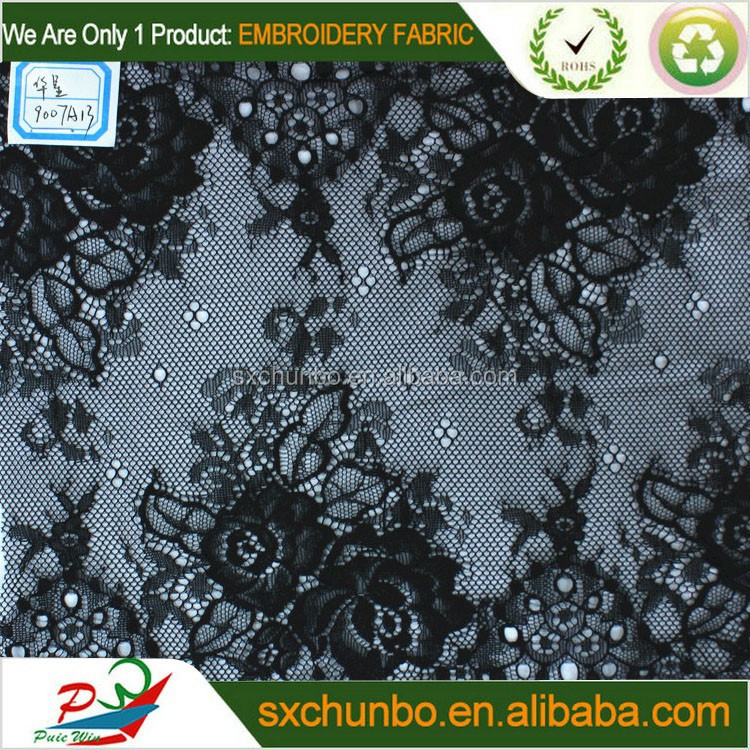 Wholesale beautiful black peony cotton eyelet mesh emboridery fabric for fashion garment