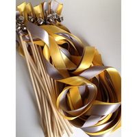 Wedding Streamer Wands Double Ribbon with Bells, Gold or Silver, custom ribbon lace colors expressions