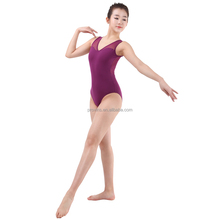 Adult Women V Neck Drop Back and Back Buckled Sleeveless Mesh Sexy Dance Leotard