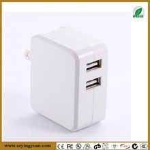 Dual USB Wall Charger with folding plug, 17-Watt,(5V 3.4A) White