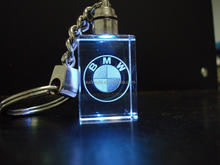 Various car brand laser led crystal keychain for promotional gifts
