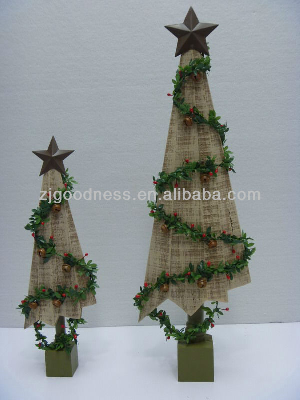 GOOD SALE Wooden Christmas Tree w/Metal Star on the top, 2 Styles