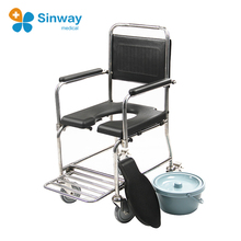 3-in-1 Mobile Steel Handicap Shower Commode Wheel Chair