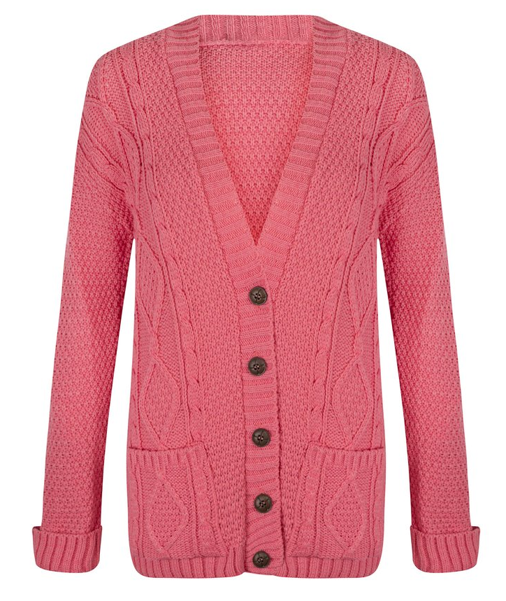 Womens Ladies Chunky Cable Knitted Long Sleeve Button Knitwear Cardigan