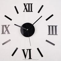 New Fashion Chic Adhesive Silver Vintage Roman Numeral wall clock china plastic wall clock wall clock parts