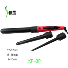 Salon equipment 3P hair curling iron with different size barrels